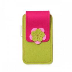 Large Smartphone Wool Felt Case - MUSTARD PINK