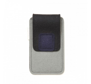 Large Smartphone Wool Felt Case - GREY BLACK NAVY