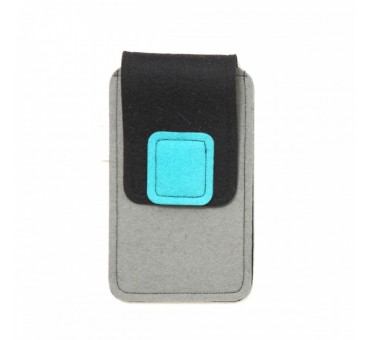 Large Smartphone Wool Felt Case - GREY BLACK TURQ