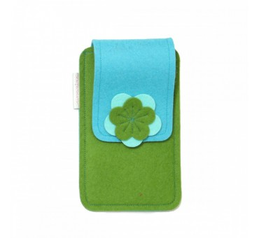 Large Smartphone Wool Felt Case - GREEN TURQ