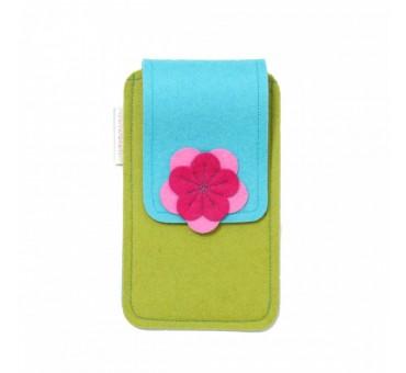 Large Smartphone Wool Felt Case - MUSTARD TURQ