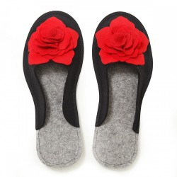 Women's Wool Felt Slippers 3D - BLACK