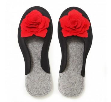 Women's Wool Felt Slippers 3D - BLACK