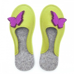 Women's Wool Felt Slippers - Butterfly MUSTARD GREEN