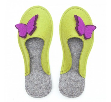Women's Wool Felt Slippers - MUSTARD Butterfly