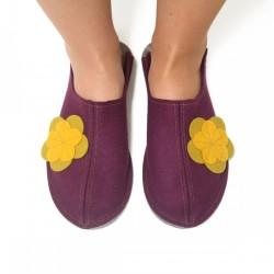 Women's Wool Felt Slippers - Wide VIOLA yellow flower