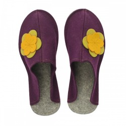 Women's Wool Felt Slippers - Wide VIOLA yellow flower
