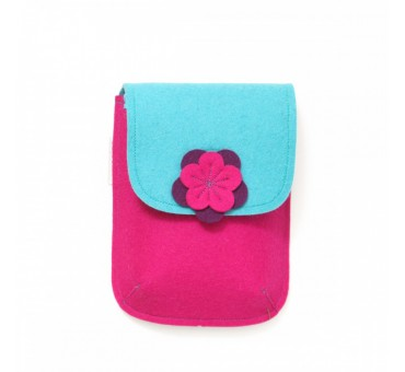 PocketBag - Wool Felt Bag - PINK TURQ