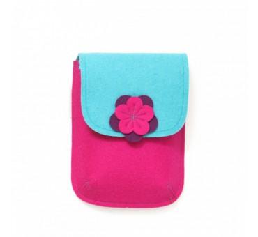 PocketBag - Wool Felt Bag - PINK TURQ