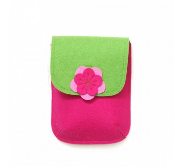 PocketBag - Wool Felt Bag - PINK GREEN