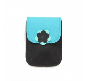 PocketBag - Wool Felt Bag - BLACK TURQ
