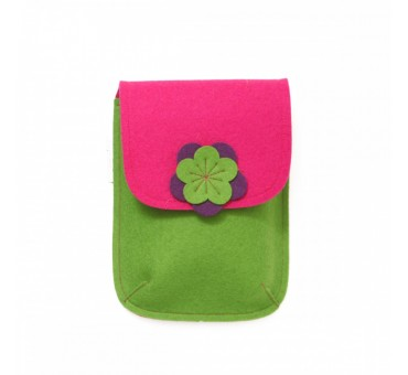 PocketBag - Wool Felt Bag - GREEN PINK