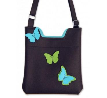 Ženska torbica iz filca - črna z metulji