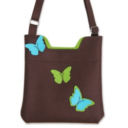 Wool Felt Bag - Brown butterfly