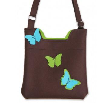 Ženska torbica iz filca - rjava z metulji