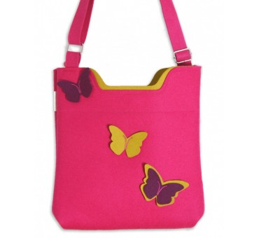Wool Felt Bag - Pink Butterfly