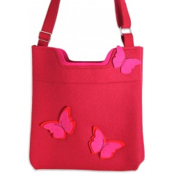 Wool Felt Bag - Red Butterfly