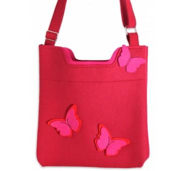 Ženska torbica iz filca - rdeča z metulji