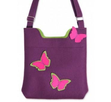 Ženska torbica iz filca - vijolična z metulji