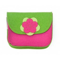 Wool Felt Purse - Green Pink