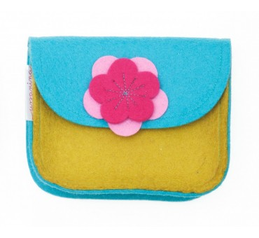 Wool Felt Purse - Blue Mustard