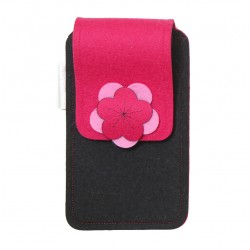 Large Smartphone Wool Felt Case - BLACK PINK