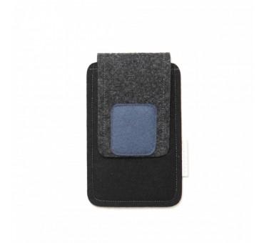 Small Smartphone Wool Felt Case - BLACK GREY