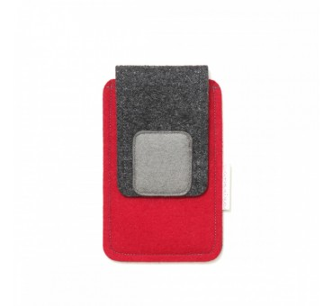 Small Smartphone Wool Felt Case - RED GREY