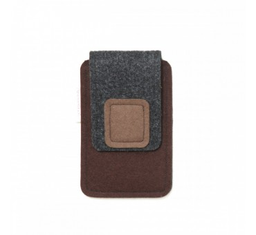 Small Smartphone Wool Felt Case - BROWN GREY