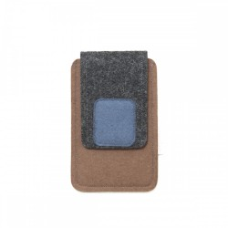 Small Smartphone Wool Felt Case - BROWN GREY BLUE
