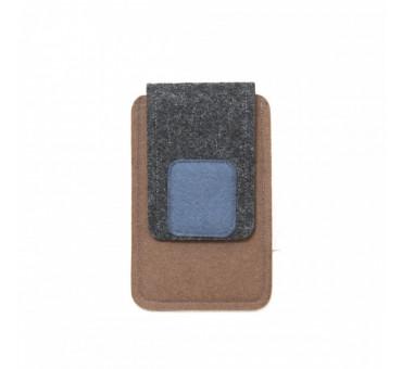 Small Smartphone Wool Felt Case - BROWN GREY BLUE