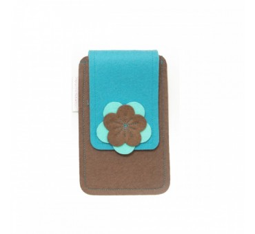 Small Smartphone Wool Felt Case - BROWN TURQ