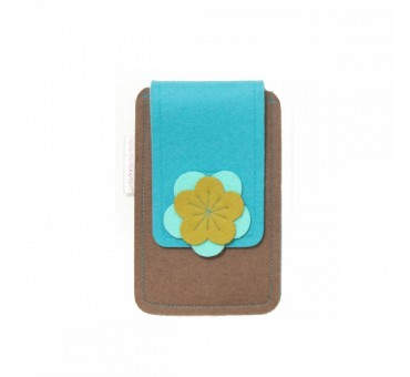 Small Smartphone Wool Felt Case - BROWN TURQ MUSTARD