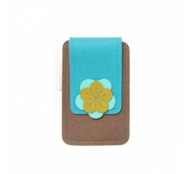 Small Smartphone Wool Felt Case - BROWN TURQ MUSTARD