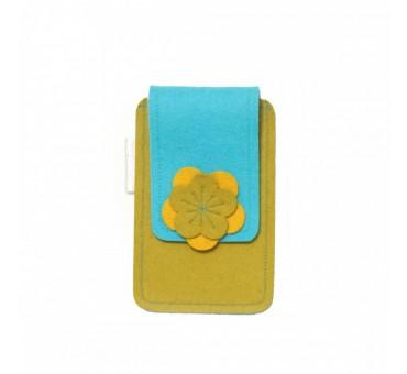 Small Smartphone Wool Felt Case - TURQ MUSTARD