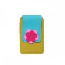 Small Smartphone Wool Felt Case - TURQ MUSTARD PINK