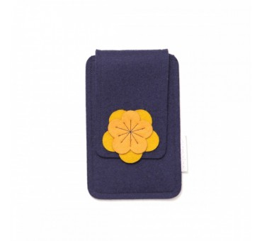 Small Smartphone Wool Felt Case - NAVY BLUE