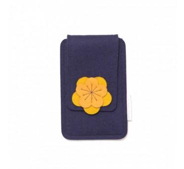 Small Smartphone Wool Felt Case - NAVY BLUE