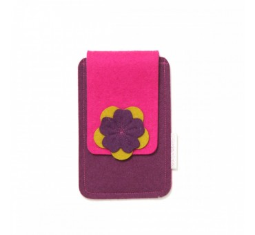 Small Smartphone Wool Felt Case - VIOLET PINK