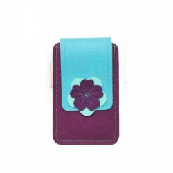 Small Smartphone Wool Felt Case - VIOLET TURQ
