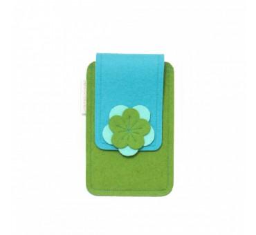 Small Smartphone Wool Felt Case - GREEN TURQ