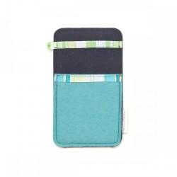 Small Smartphone Wool Felt Slip - BLUE LINES II