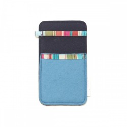 Small Smartphone Wool Felt Slip - BLUE LINES