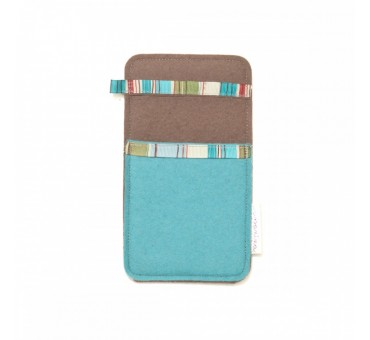 Small Smartphone Wool Felt Slip - BLUE BROWN