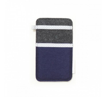 Small Smartphone Wool Felt Slip - NAVY BLUE GREY II