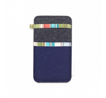 Small Smartphone Wool Felt Slip - NAVY BLUE GREY