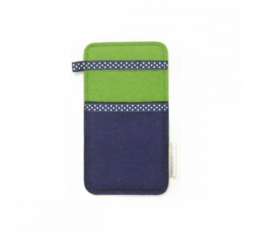 Small Smartphone Wool Felt Slip - NAVY BLUE GREEN DOTS