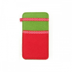 Small Smartphone Wool Felt Slip - RED GREEN DOTS