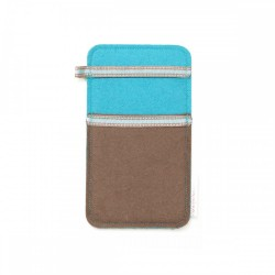 Small Smartphone Wool Felt Slip - BROWN TURQ