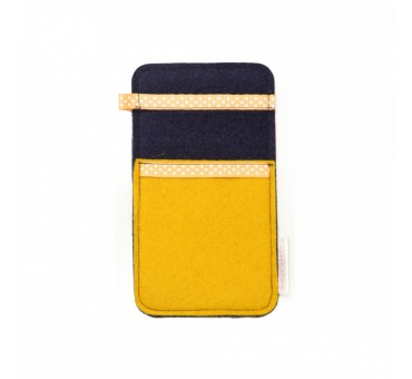 Small Smartphone Wool Felt Slip - YELLOW NAVY BLUE